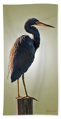 Heron On Post Beach Towel