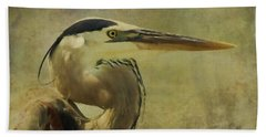 Heron On Texture Beach Towel