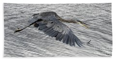 Beach Towel featuring the photograph Heron In Full Flight by Sue Harper