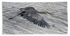 Heron In Full Flight Beach Sheet