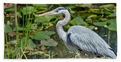 Heron On The River Bank Beach Towel