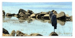 Heron On The Rocks Beach Towel