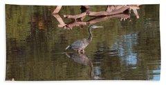 Heron Reflection Beach Towel