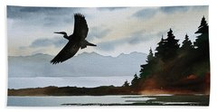 Heron Silhouette Beach Sheet by James Williamson