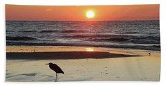 Heron Watching Sunrise Beach Towel
