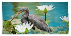 Heron With Water Lillies Beach Towel
