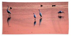 Herons At Sunrise Beach Towel