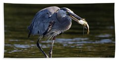 Beach Towel featuring the photograph Herons Dinner by Sue Harper