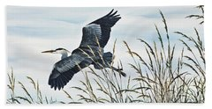 Herons Flight Beach Towel by James Williamson