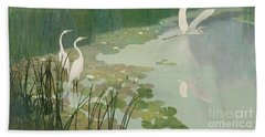 Herons In Summer Beach Towel by Newell Convers Wyeth