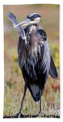 Beach Towel featuring the photograph Herons Own by Sue Harper