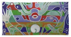 Beach Towel featuring the painting Hexagram 15-qian  by Denise Weaver Ross