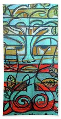 Beach Towel featuring the painting Hexagram 37-jiaren-family by Denise Weaver Ross