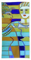 Beach Towel featuring the painting Hexagram 44-gou-encounter by Denise Weaver Ross
