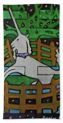 Beach Towel featuring the painting Hexagram 47-kun-set-yourself-free by Denise Weaver Ross