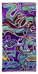 Beach Towel featuring the painting Hexagram-51-zhen-thunder-shock by Denise Weaver Ross