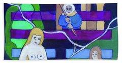 Beach Towel featuring the painting Hexagram 54-gui Mei-dangerous Liaison by Denise Weaver Ross