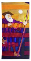 Beach Towel featuring the painting Hexagram 56-lu-the Wanderer by Denise Weaver Ross