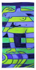 Beach Towel featuring the painting Hexagram-58-tui-joy by Denise Weaver Ross