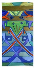 Beach Towel featuring the painting Hexagram-61-zhoong-fu-sincerity by Denise Weaver Ross