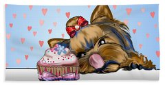 Beach Towel featuring the mixed media Hey There Cupcake by Catia Lee