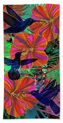 Hibiscus And Hummers Beach Towel