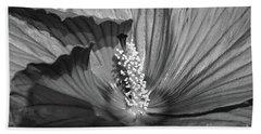 Hibiscus Black And White Beach Towel
