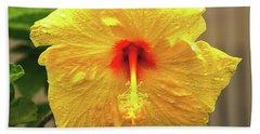 Hibiscus Flower After The Rain Beach Sheet