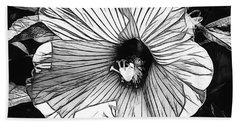 Hibiscus In Black And White Beach Towel