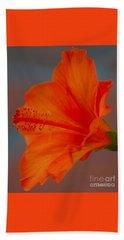 Hot Orange Hibiscus Beach Towel