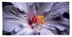 Hibiscus In The Rain Beach Towel by Lori Seaman