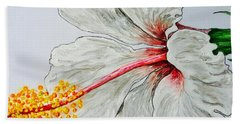 Hibiscus White And Red Beach Towel by Sheron Petrie