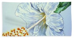 Hibiscus White And Yellow Beach Towel by Sheron Petrie