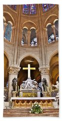 High Alter Notre Dame Cathedral Paris France Beach Sheet