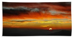 Beach Towel featuring the photograph High Altitude Fiery Sunset by Joe Bonita
