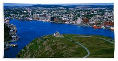 High Angle View Of A City, Signal Hill Beach Towel