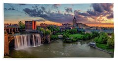 Beach Towel featuring the photograph High Falls Panorama by Mark Papke