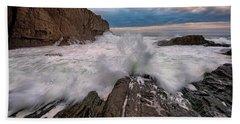 Beach Towel featuring the photograph High Tide At Bald Head Cliff by Rick Berk