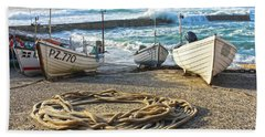 Beach Towel featuring the photograph High Tide In Sennen Cove Cornwall by Terri Waters