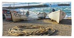 High Tide In Sennen Cove Cornwall Beach Towel
