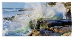 High Tide On The Rocks Beach Towel by Eddie Yerkish