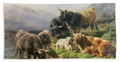 Highland Cattle Beach Sheet by William Watson
