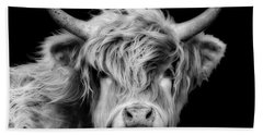 Highland Cow Portrait Beach Sheet