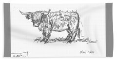 Beach Towel featuring the drawing Highland Cow Field Sketch by Dawn Senior-Trask