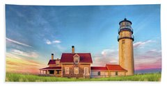 Beach Towel featuring the painting Highland Lighthouse by Christopher Arndt