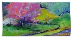Beach Towel featuring the painting Highland Park In Spring by Jodie Marie Anne Richardson Traugott          aka jm-ART