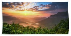 Highlands Sunrise - Whitesides Mountain In Highlands Nc Beach Sheet