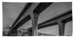 Highway 52 Over Spring Canyon, Black And White Beach Towel