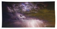Highway 52 Storm Cell - Two And Half Minutes Lightning Strikes Beach Towel