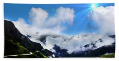 Beach Towel featuring the photograph Highway Through The Andes - Painting by Al Bourassa